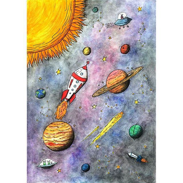 The Amazing Solar System is one of our new designs. This was a lot of fun to create, especially after brushing up on the planets with our four year old who makes me sing the planet songs (there's plenty on kids tube if you're curious 😂) This is available as a card and print if you have any fellow space enthusiasts with lots of rockets, spacemen and little details for them to enjoy 🌏🌜🌌