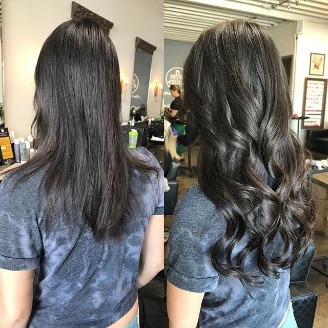 #beforenafter #shorthair to #longhair  in just one salon visit , you could walk out with #hairextensions and no one would know ! #customcoloring #Hairsalonsantamonica #hairstyles