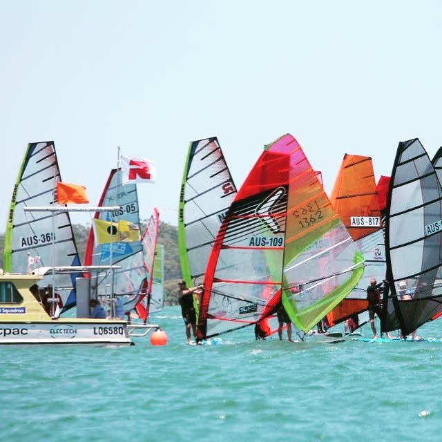 The start of the Australia #raceboard Nationals. #raceboardwindsurfing #windsurfing #raceboards #rqys #royalqueenslandyachtsquadron @royal_qld_yacht_squadron Pic - Dave Bell