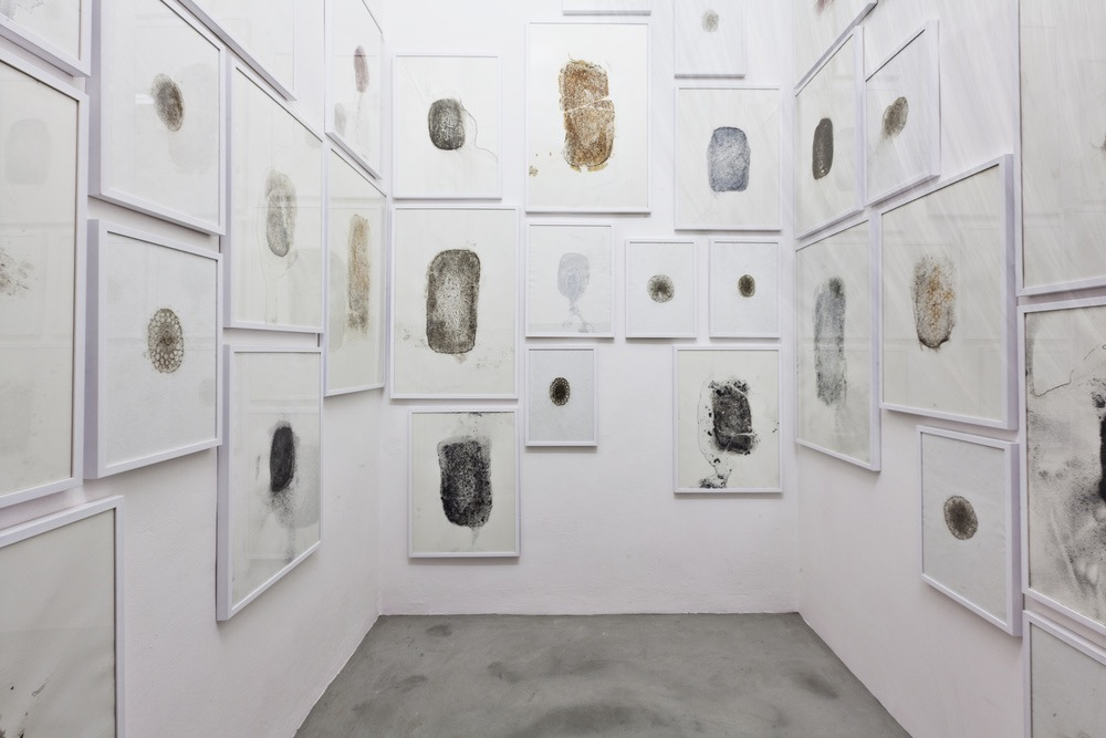 Moules (Water Prints)  , Hélène Thensiau  , and Lima Drib  ,   2015 (  river water, various metals on paper  ), installation view, Galleria Continua, San Gimignano / Beijing / Les Moulins / Habana. Photo by: Ela Bialkowska.