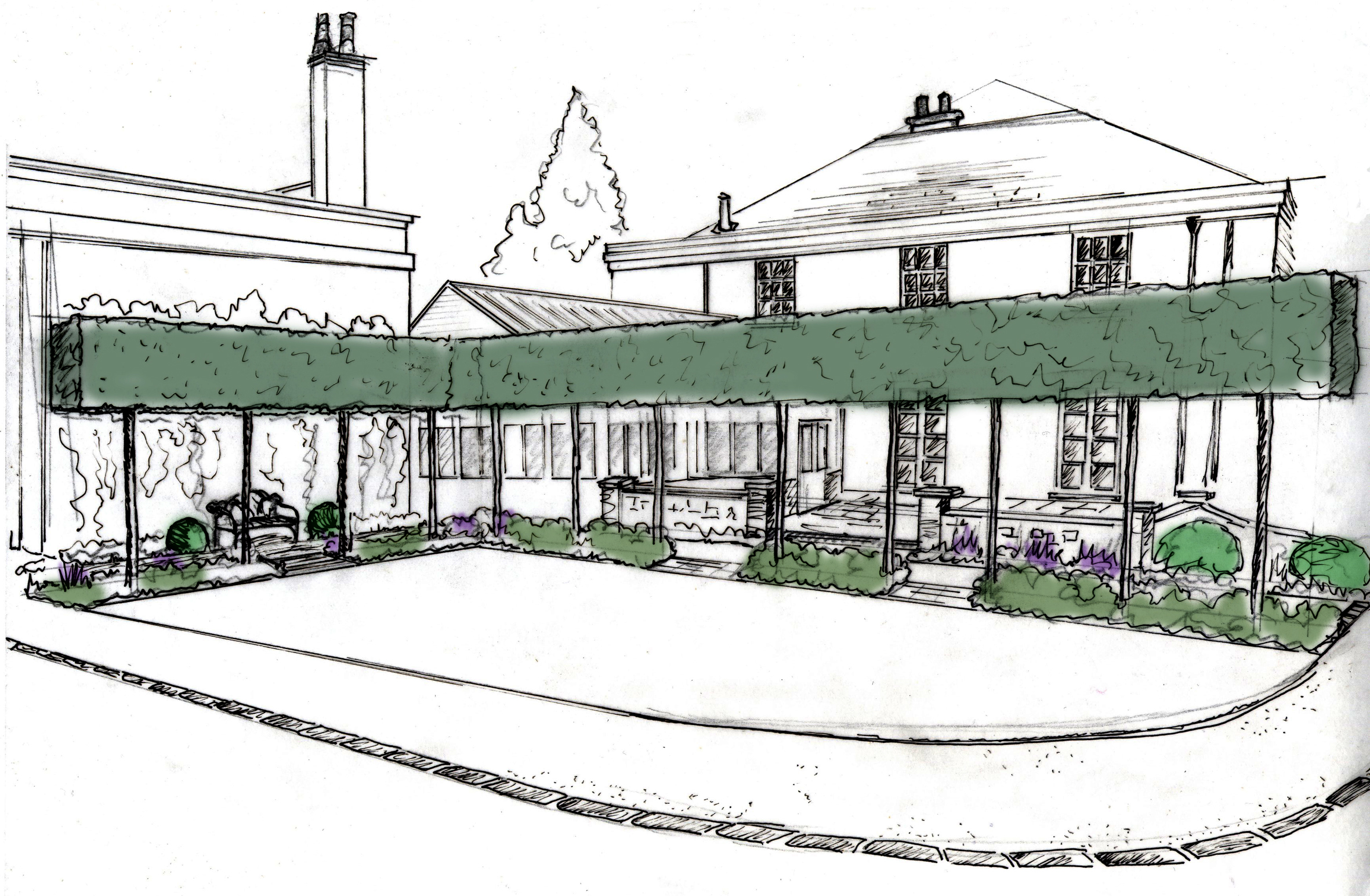 Concept Drawing for the Brasserie Garden, Whitworth Hall Hotel.