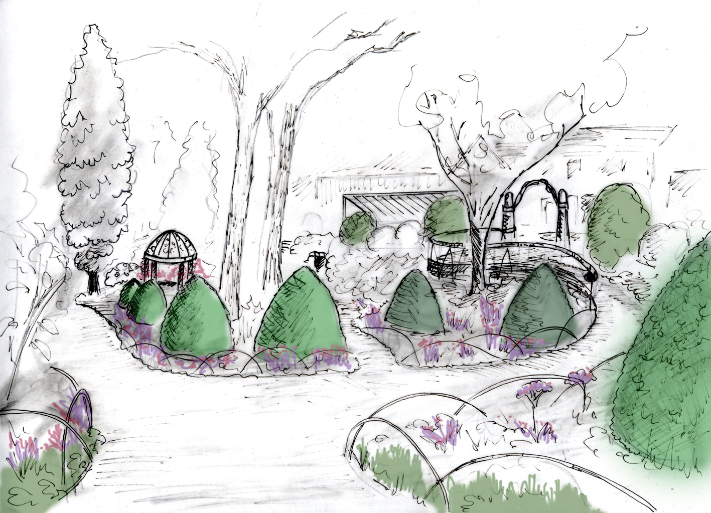 Concept for the Rose Arbour by Eves & Lewis Landscape Design