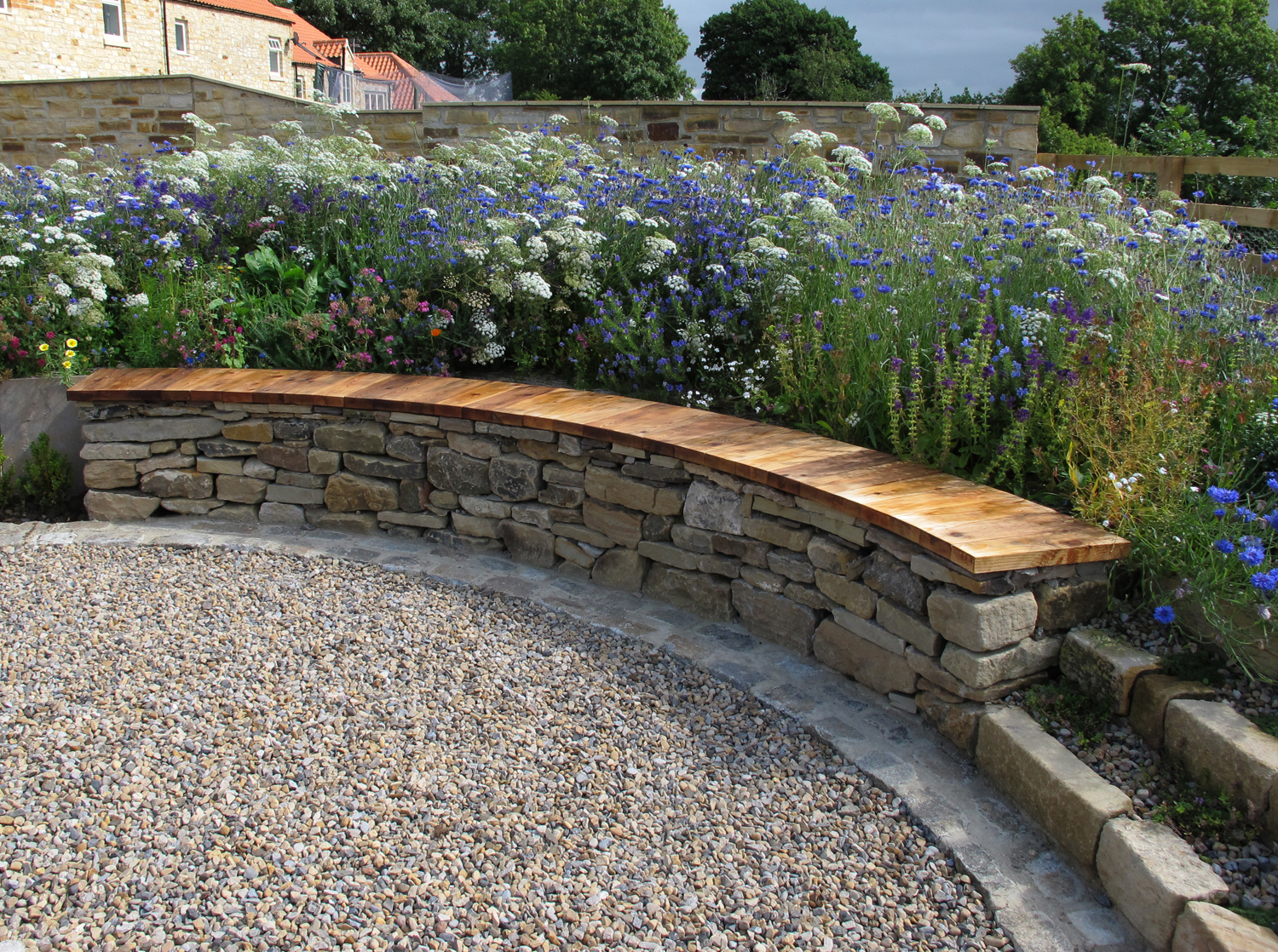 Curved Dry Stone Bench