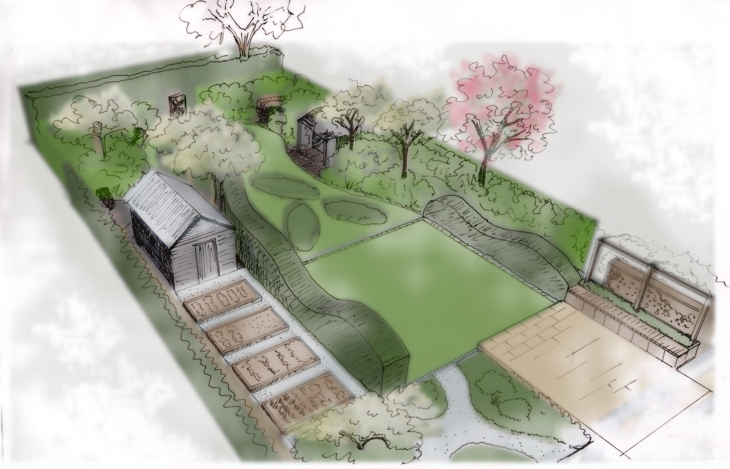 Sketch Plan for a Suburban Family Garden