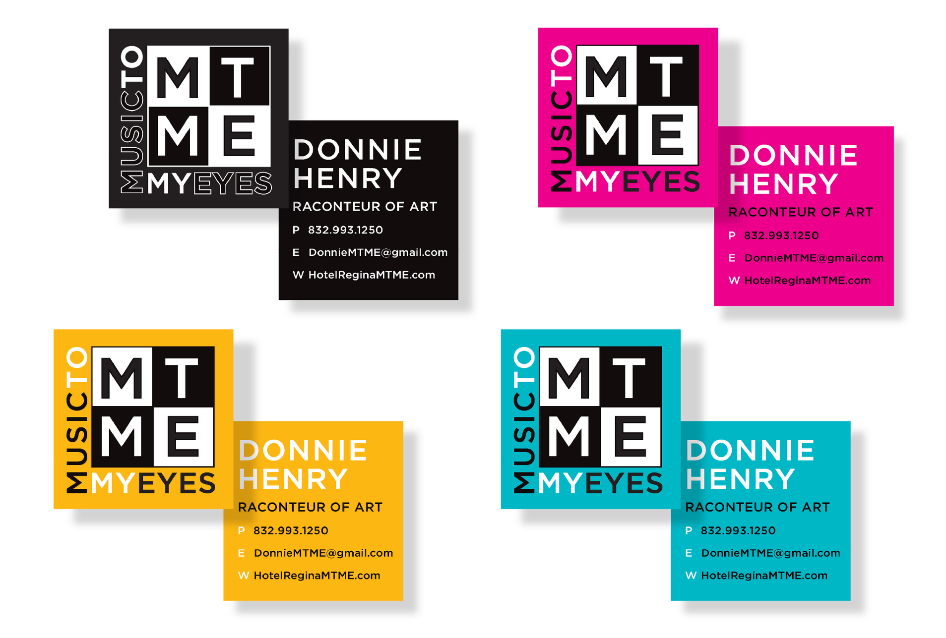 Each person receives multiple sets of business cards with different colors. This allows the MTME brand to feel larger and lively, having more than just one color.