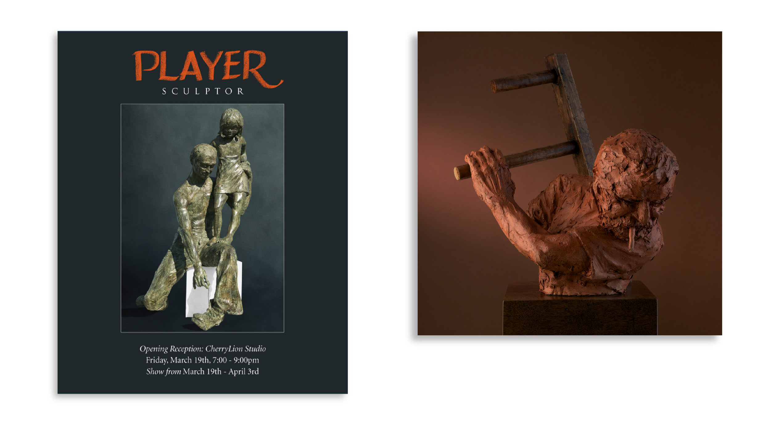 The above represent a solo show poster and a photograph of Hugh on a Ladder. PLAY helped to secure famed photographer, Parish Kohanim for both these photographs and helped to art direct both photo-shoots.