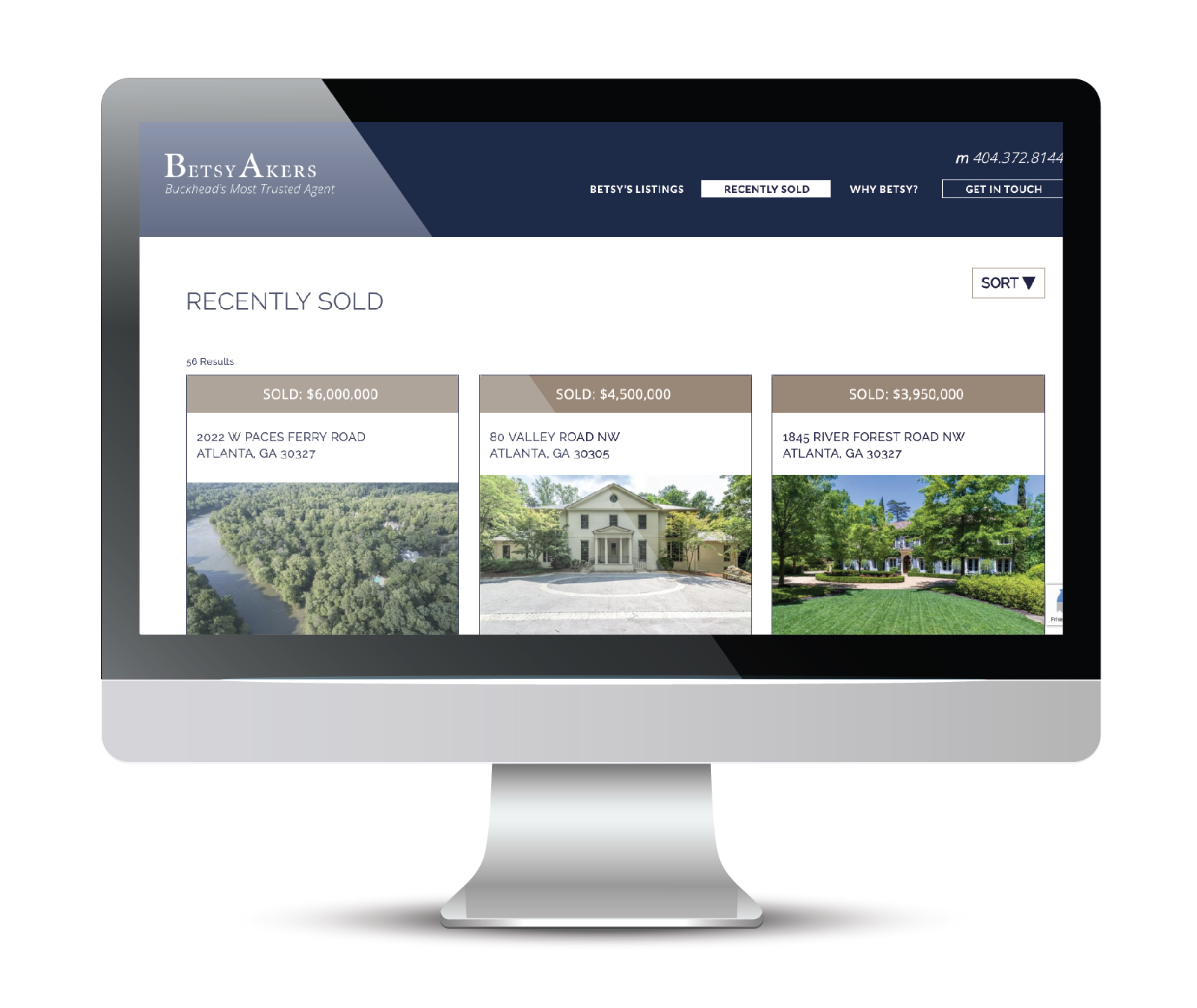 "Seen here is the website landing page for ""properties recently sold"". The content on this page and all listing pages are automatically pulled from FMLS and styled within a third party software for design continuity."