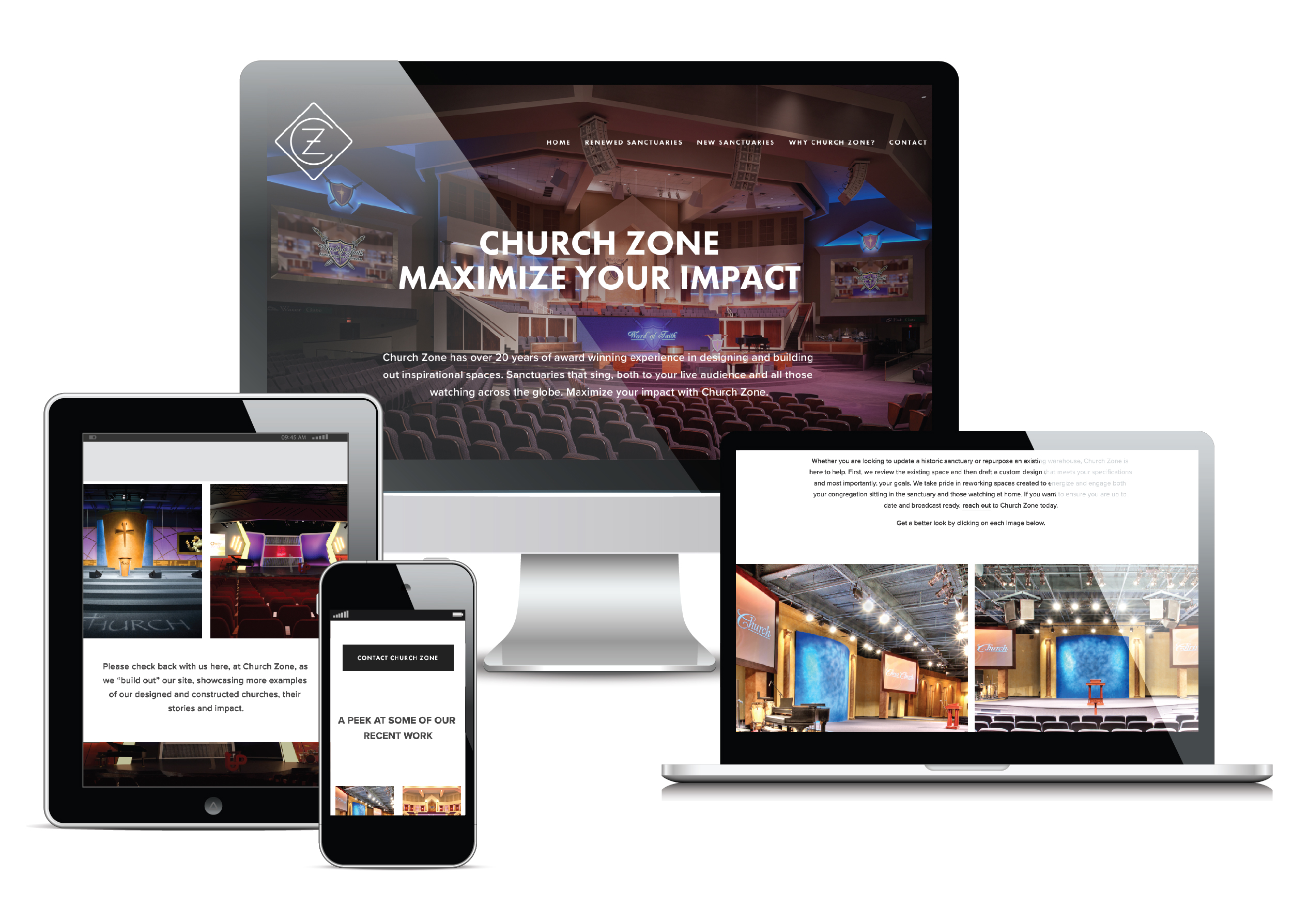 Our responsive designed website emphasized Church Zone's work and case studies.