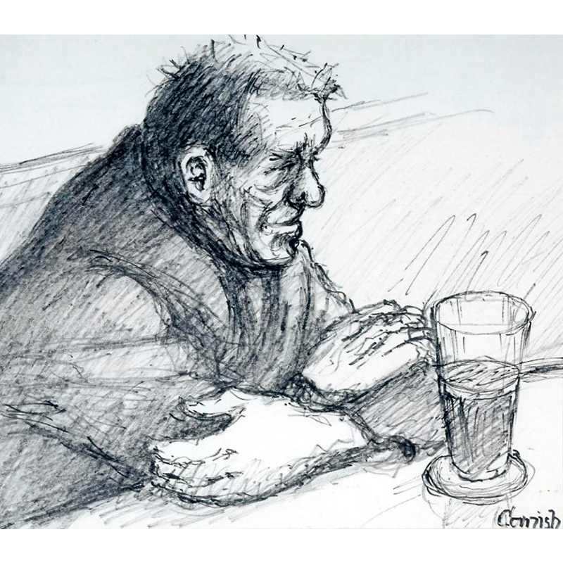 NORMAN CORNISH  MBE (1919 - 2014) Man with Folded Arms  on view at Jesmond Dene House   Flo-master pen on paper, 40 x 41cm  £3,200 Framed   ENQUIRE