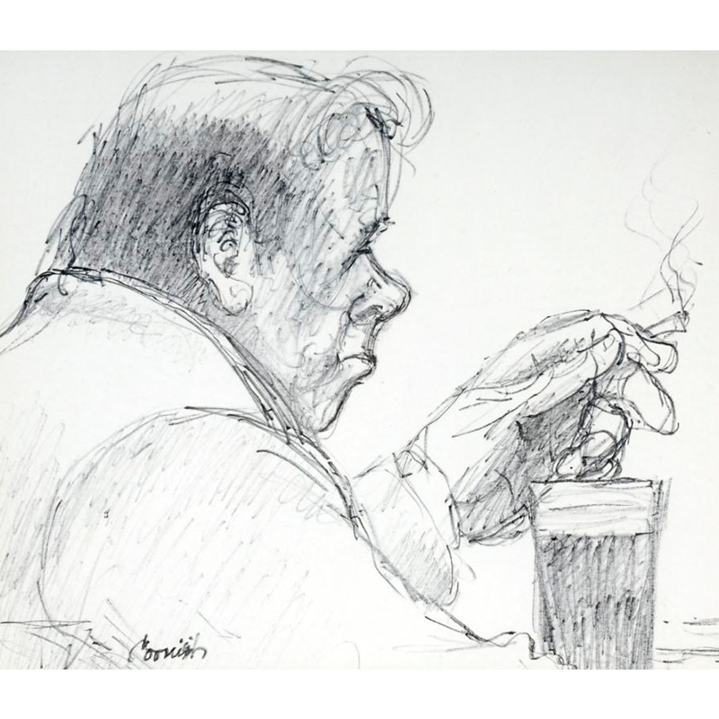 NORMAN CORNISH  MBE (1919 - 2014) Man with Pint  on view at Jesmond Dene House   Flo-master pen on paper, 40 x 42cm  £3,200 Framed    ENQUIRE