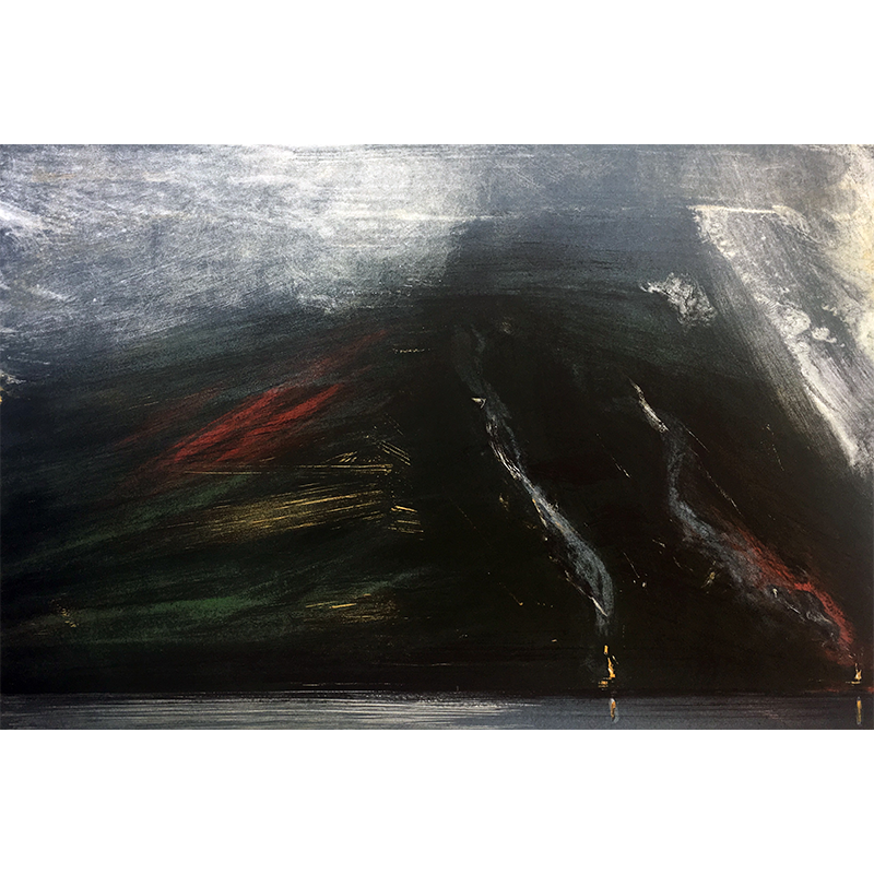 ØRNULF OPDAHL  Fire on the Fjord  on view at Jesmond Dene House   Lithograph, ed. 3/80, 62 x 90cm  £1,200 Framed    ENQUIRE
