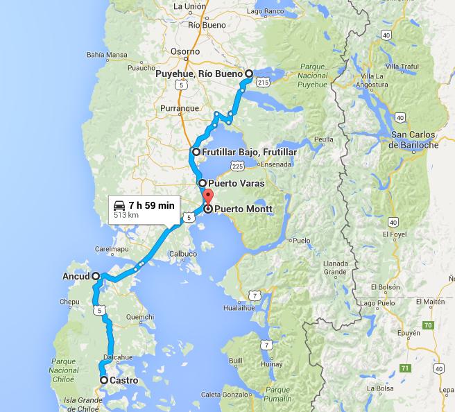 Our Route => Santiago - Ancud - Castro -Puerto Varas - Frutillar - Puyehue - Puerto Montt - Santiago