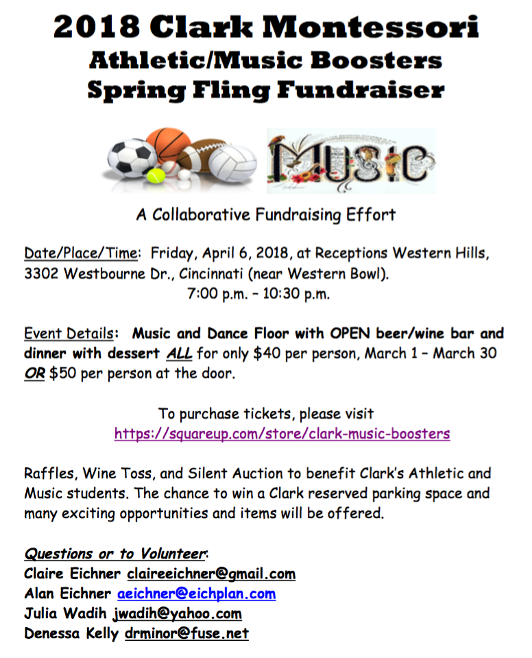 Details - All for only $40 per person, March 1-30 OR $50 per person at the door.Click at left to download the flyer.Purchase tickets at https://squareup.com/store/clark-music-boosters