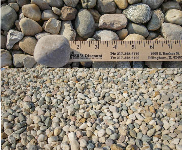 "Indiana Gravel- This material is a very colorful washed gravel that has a rounded texture to it. It is 3/4"" to 1 1/2"" in size and consists of various colors.   --Recommended for use in any landscaping projects."