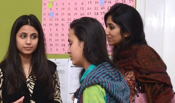 Fatima Zaidi with students of the Grammar School in Lahore