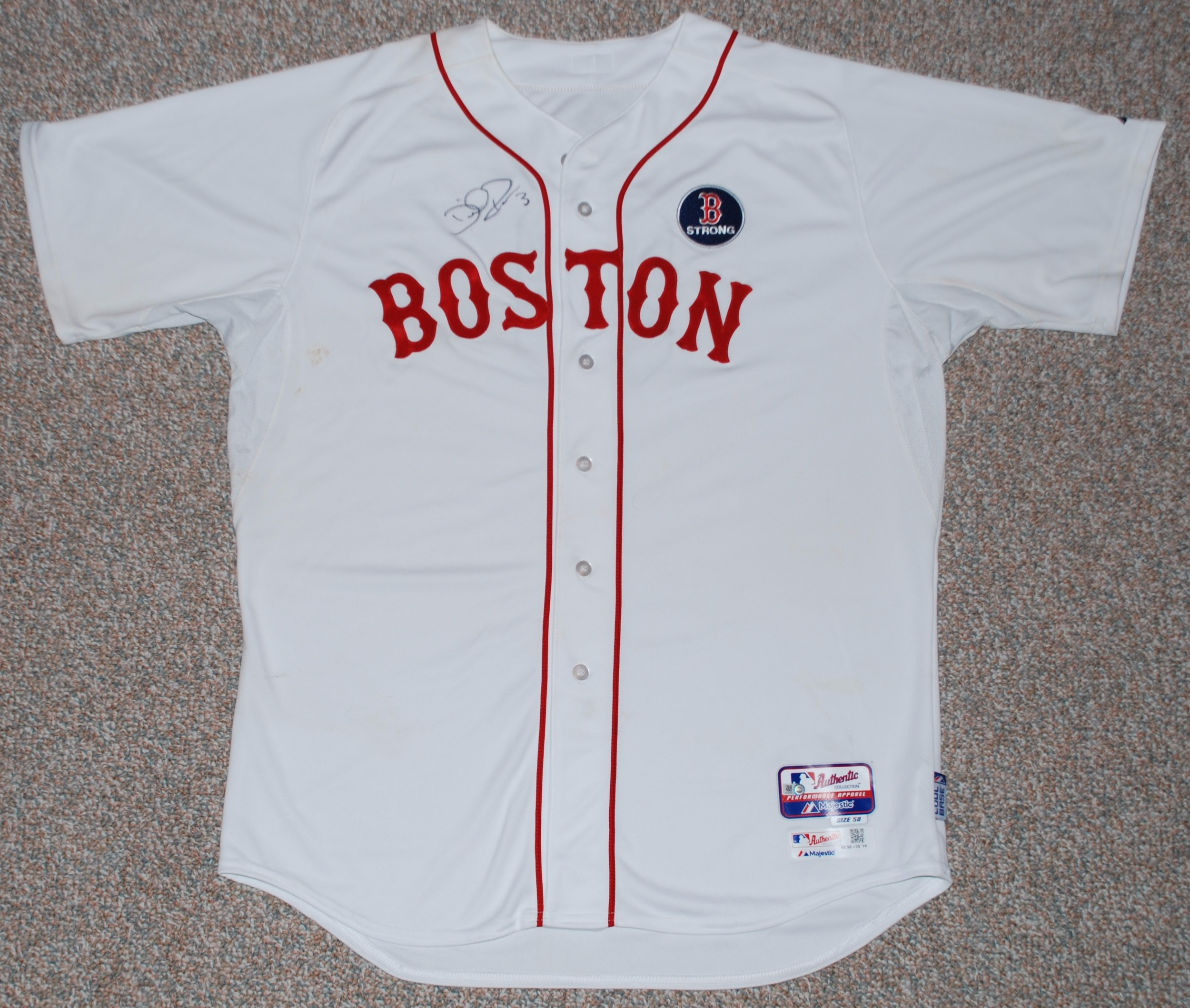 David Ross 2014 Autographed Patriots Day Jersey