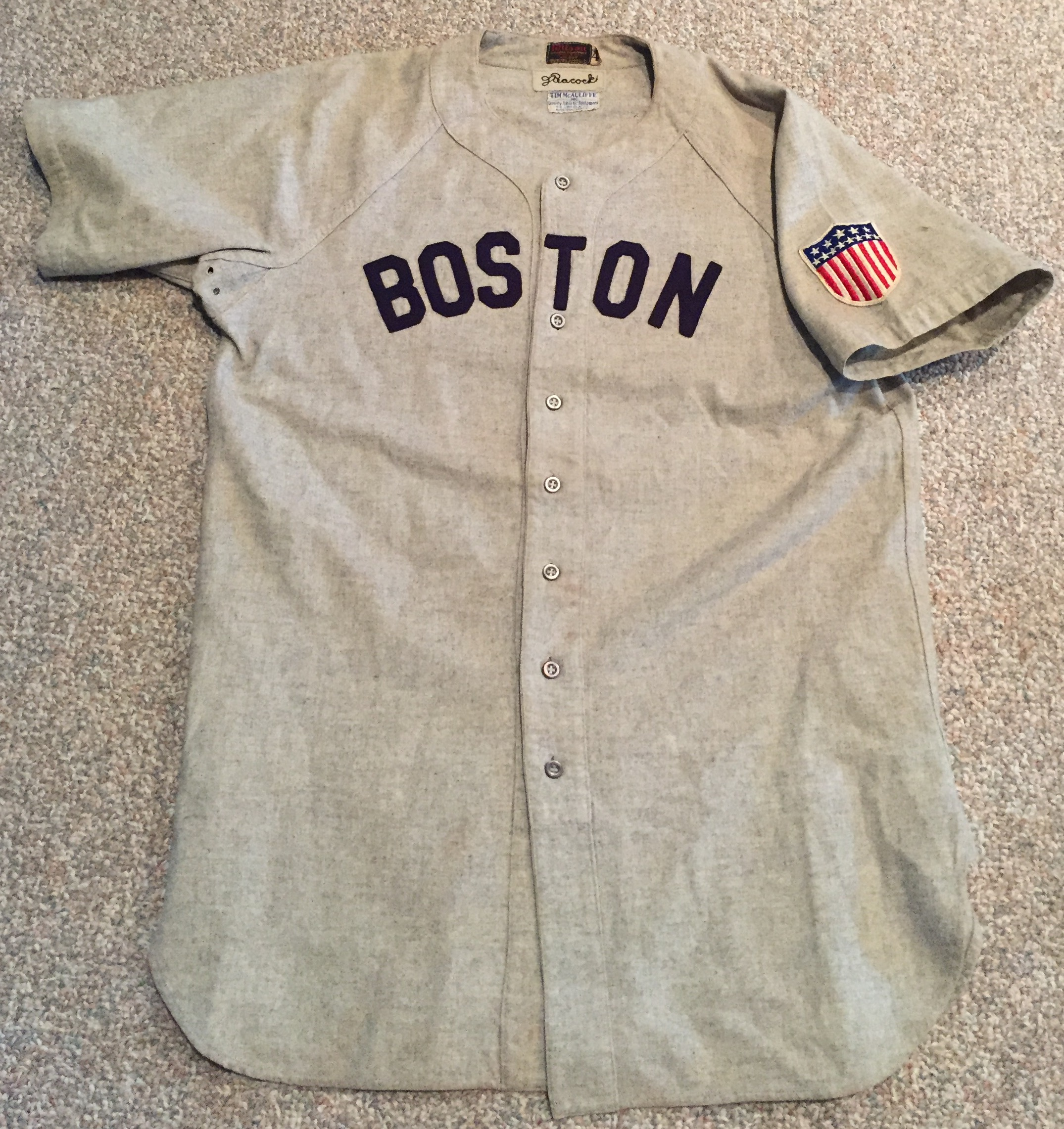 Johnny Peacock 1943 Road Red Sox Jersey