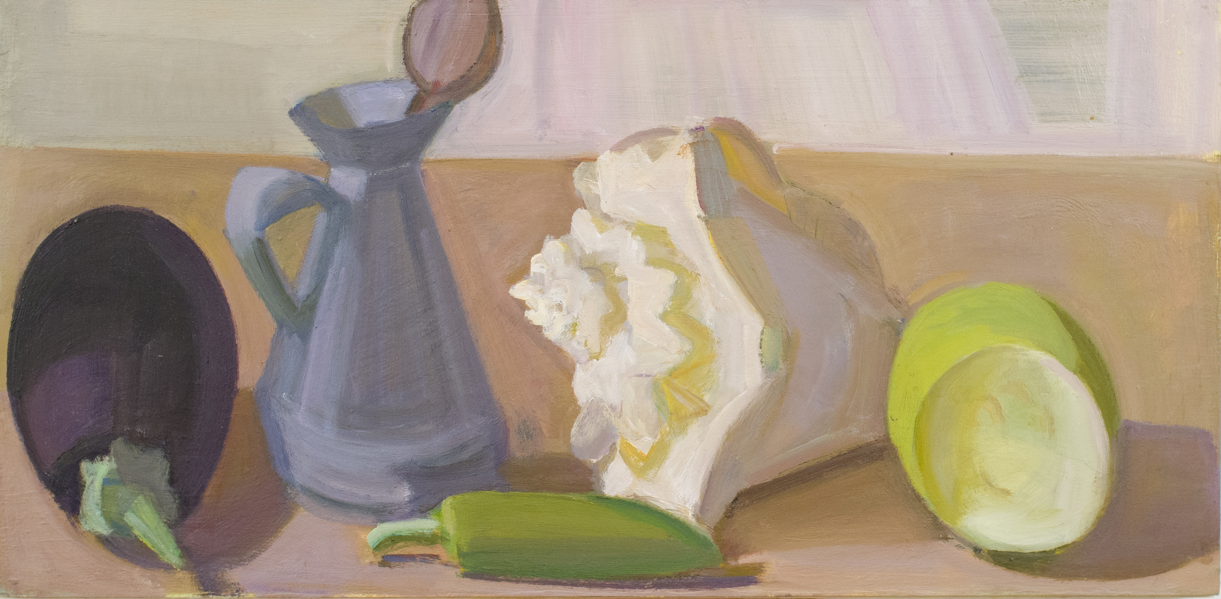 """Eggplant with Shell and Halved Bitter Gourd, oil on panel, 9""""x18"""""""