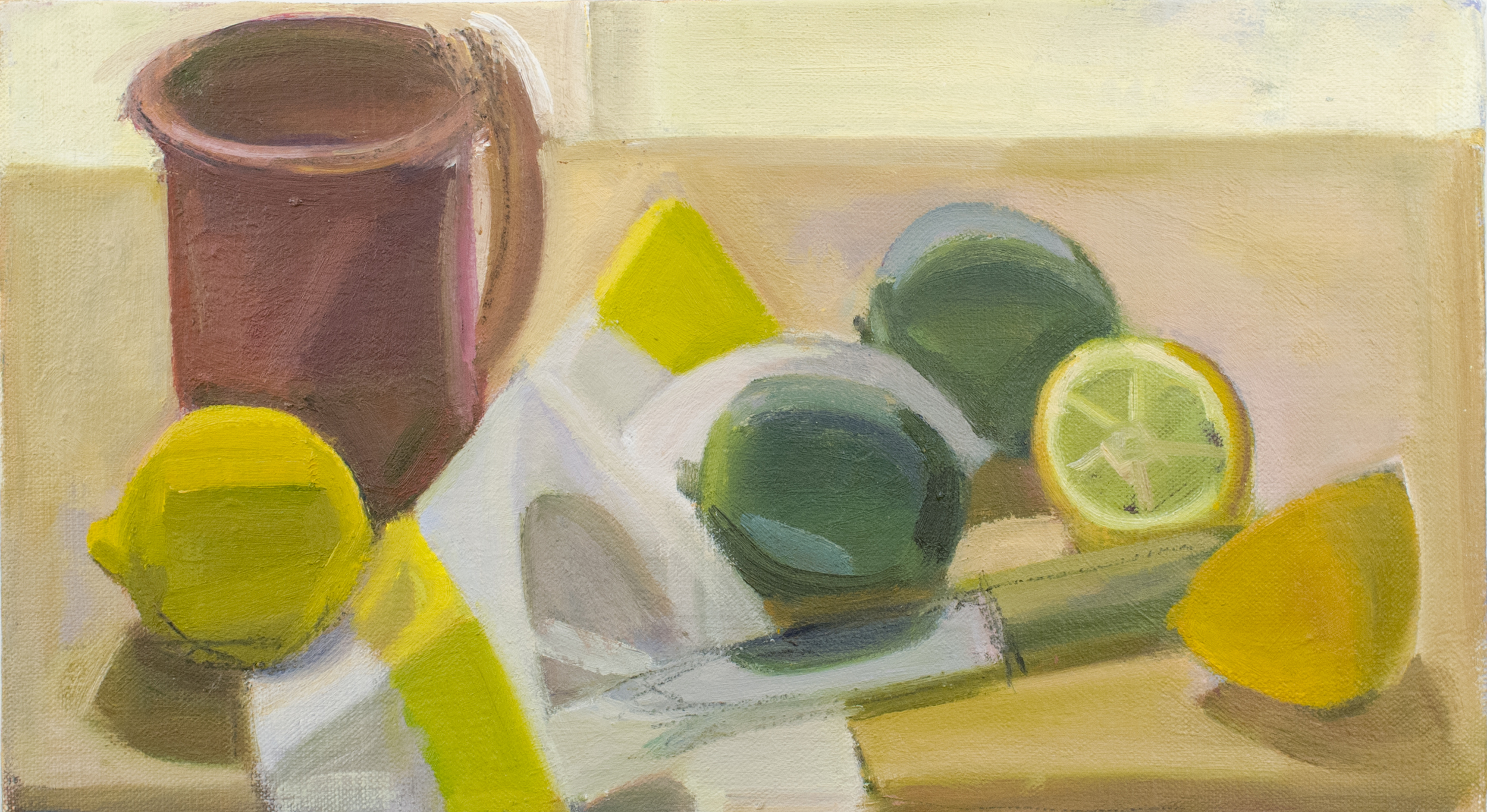 """Pink Cup with Cut Lemon and Limes, oil on canvas, 8""""x14"""""""