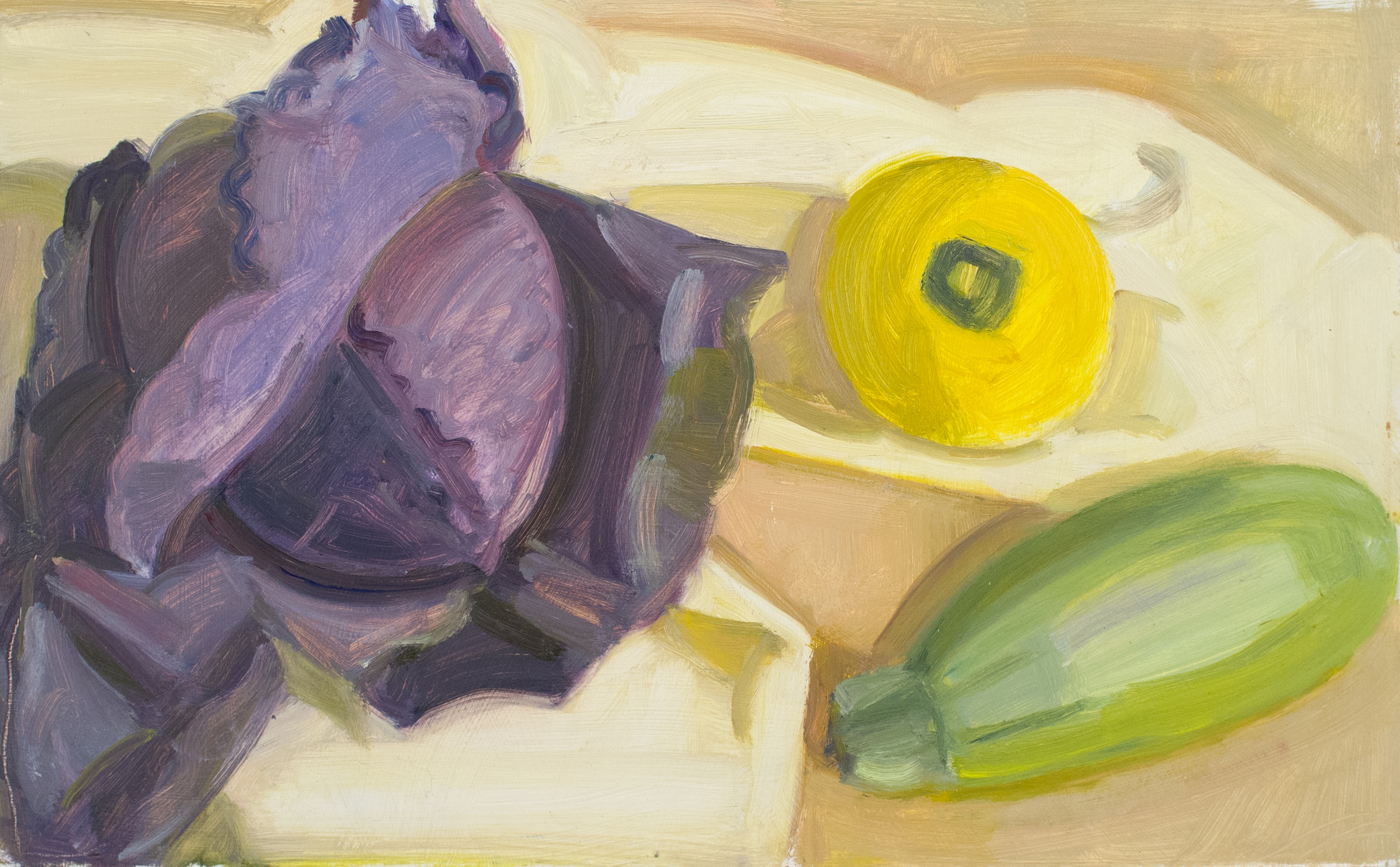 """Purple Cabbage, Pale Green Tiger and Pattypan Squash, oil on panel, 10""""x16"""""""