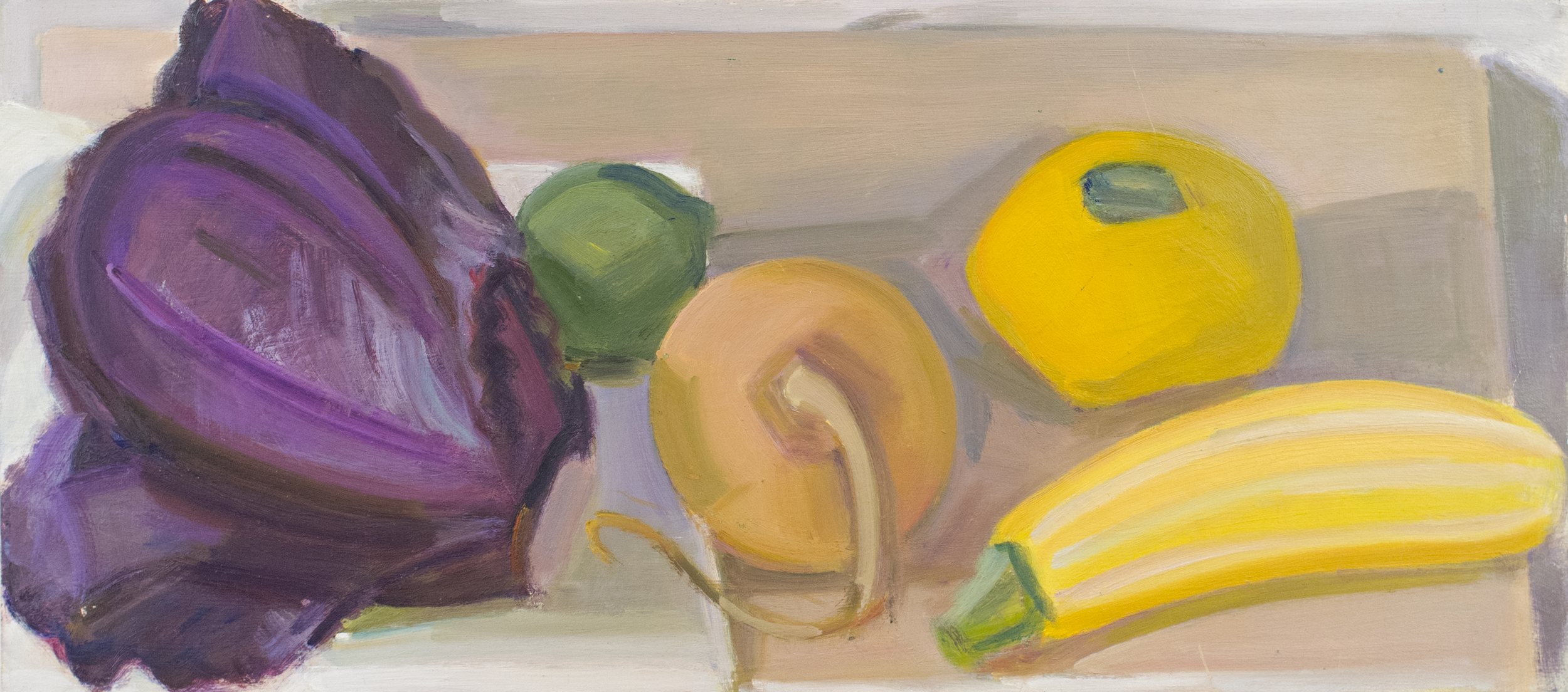 """Red Cabbage w/Lime and Pattypan and Striped Squash surrounding Onion, oil on panel, 10""""x16"""""""