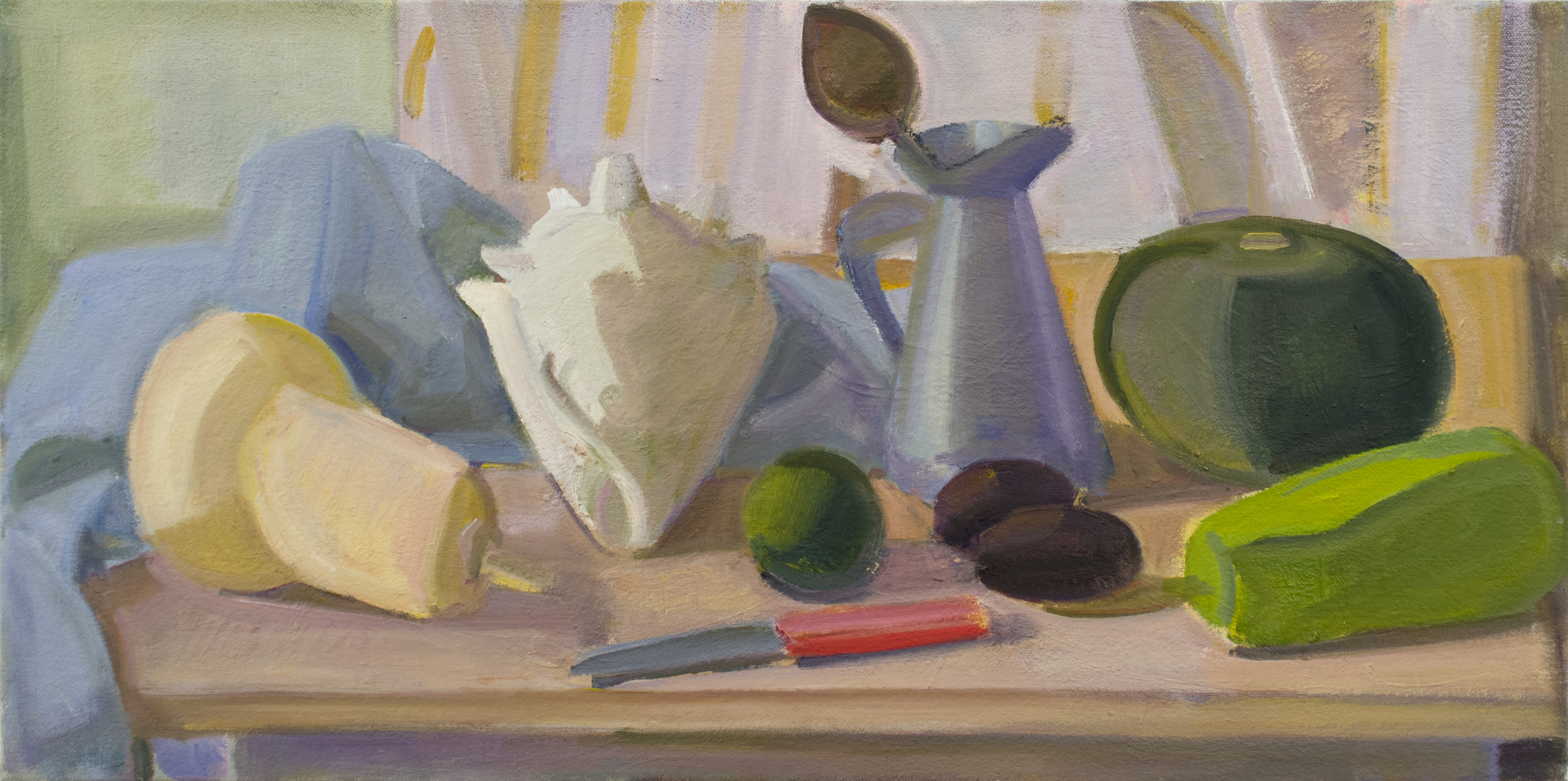 "Shell, Cabocha, Tiny Eggplants and Bitter Gourd w/Red Knife, oil on canvas, 12""x24"""
