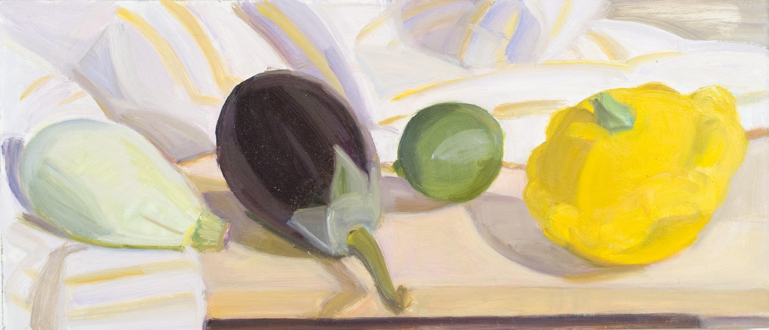 "Pale Green Tiger Squash, Eggplant, Lime and Plump Pattypan, o-panel. 8""x18"""