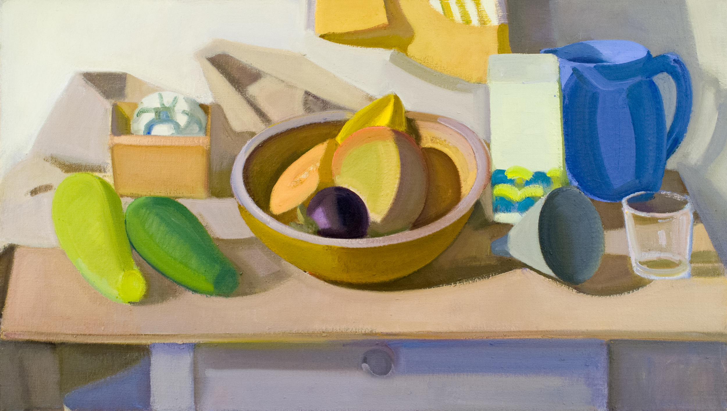 "Wooden Bowl with Mango, Star Fruit, Pitcher and Glass, oil on canvas, 17"" x 30"""