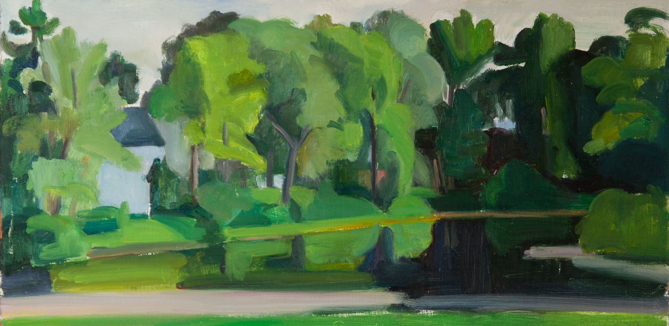 "Blair Pond, 5 PM, oil on panel, 10"" x 20"""