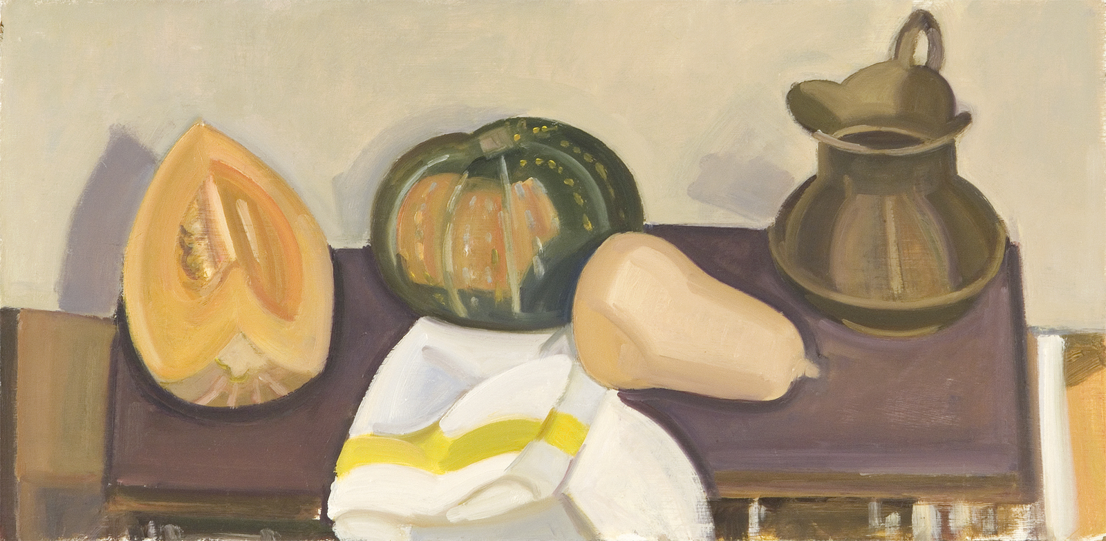 """Brass Pitcher And Striped Napkin, oil on panel, 12"""" x 24"""""""