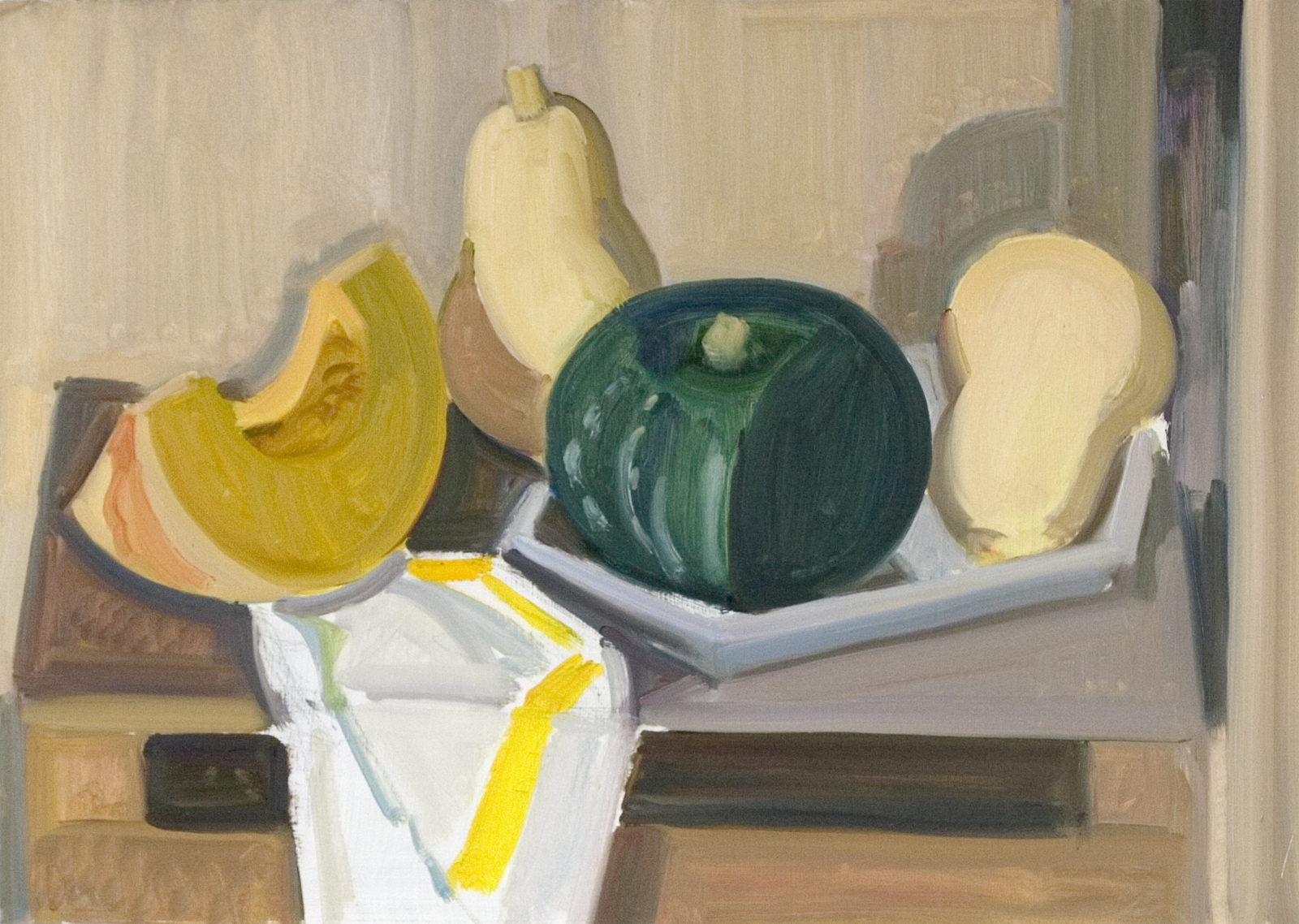 Squash with Wooden Box and Napkin, oil on panel