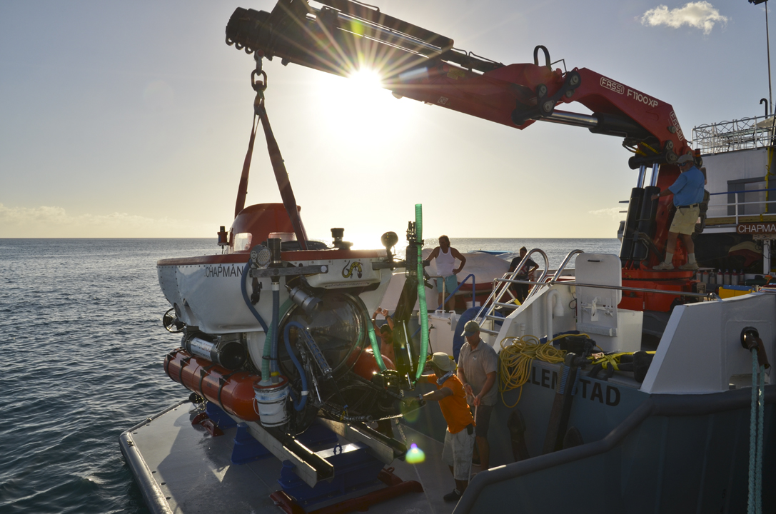 """Back """"Home""""  The  Curasub is placed back on the  RV Chapman  until her next dive."""