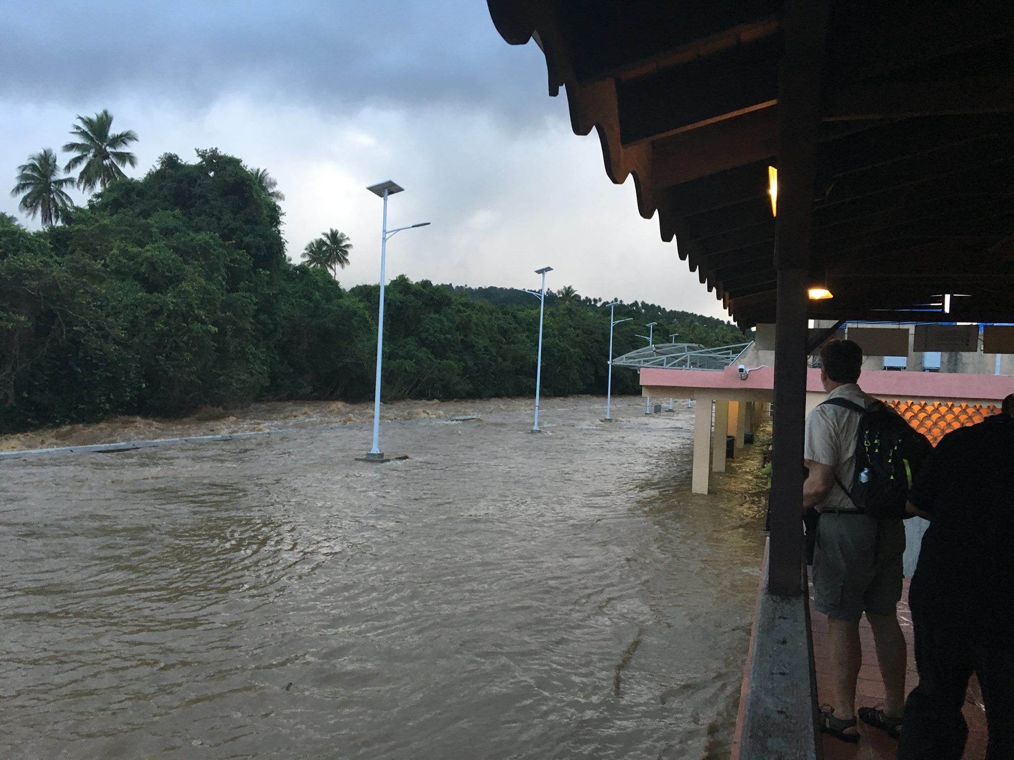 View from the second story of Douglas-Charles Airport in Dominica. The Smithsonian DROP team waits to return to the USA.   Photo credit: Allen Collins