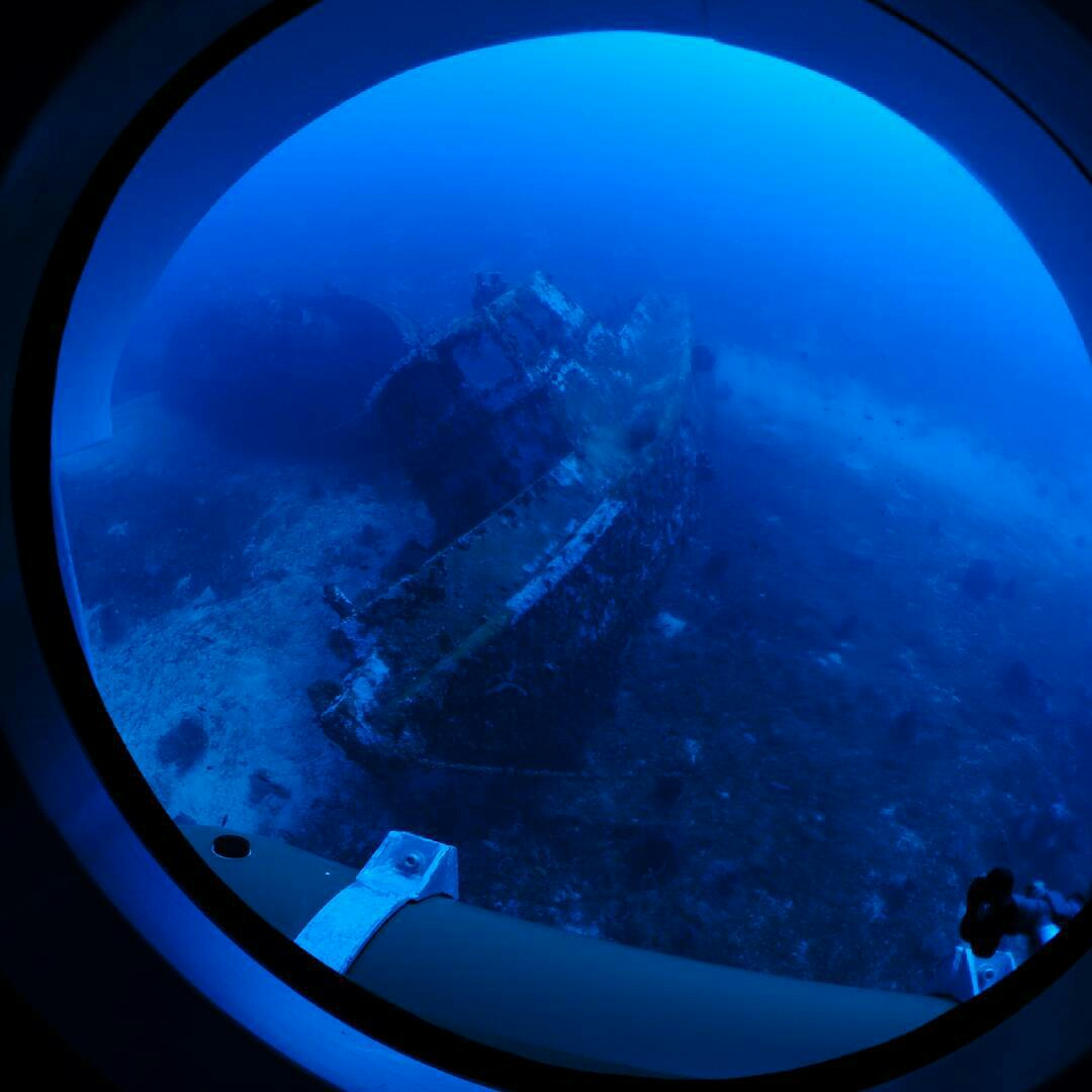 The view through one of rear windows of the Curasub