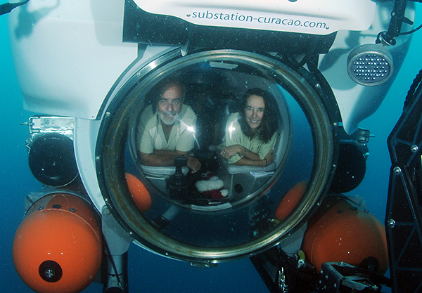 Carole Baldwin (r) in the Curasub. Photo Credit Barry Brown / Substation Curacao