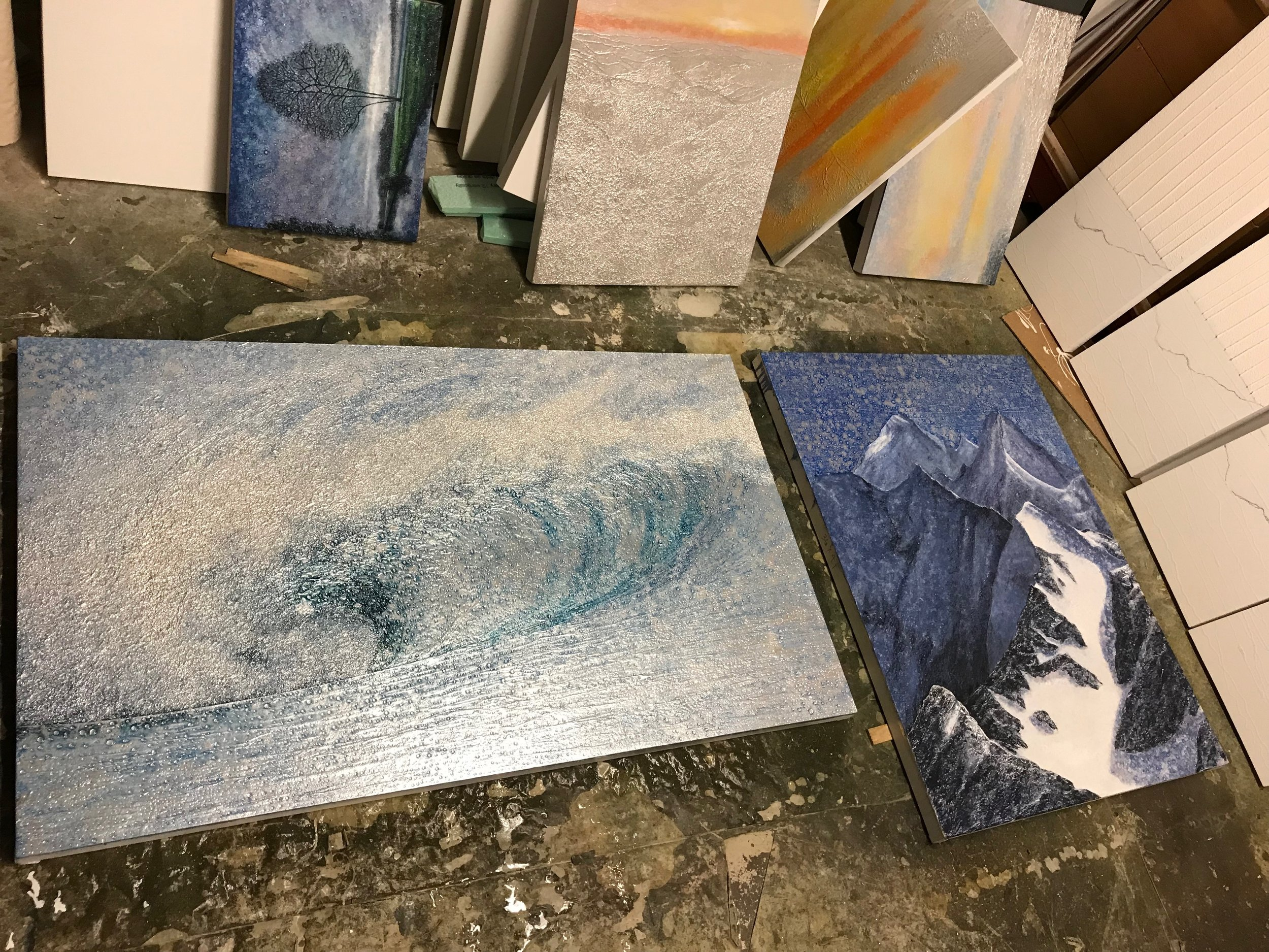 Interior shot of my wave (with the first layer of paint) and the mountain scene.