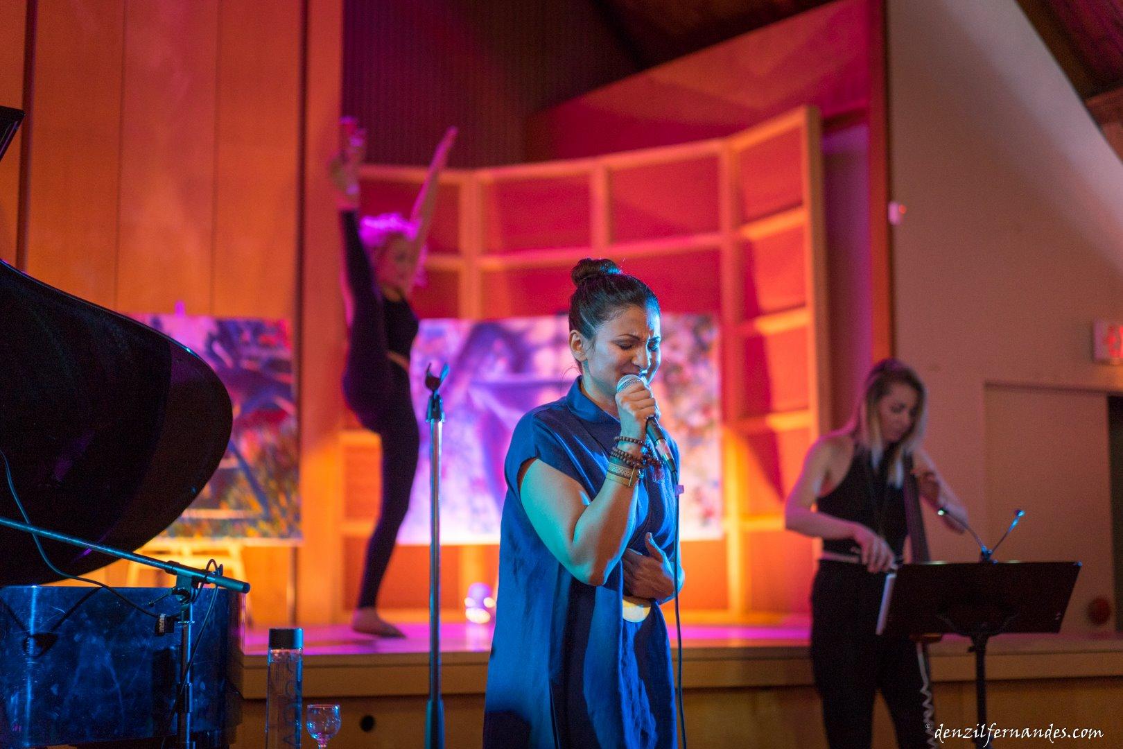"Daniela D'Alessandro (dancer on stage), DAHLIA (Vocals - centre), Michelle Faerhmann (Cellist - right) performing ""BROKEN"""