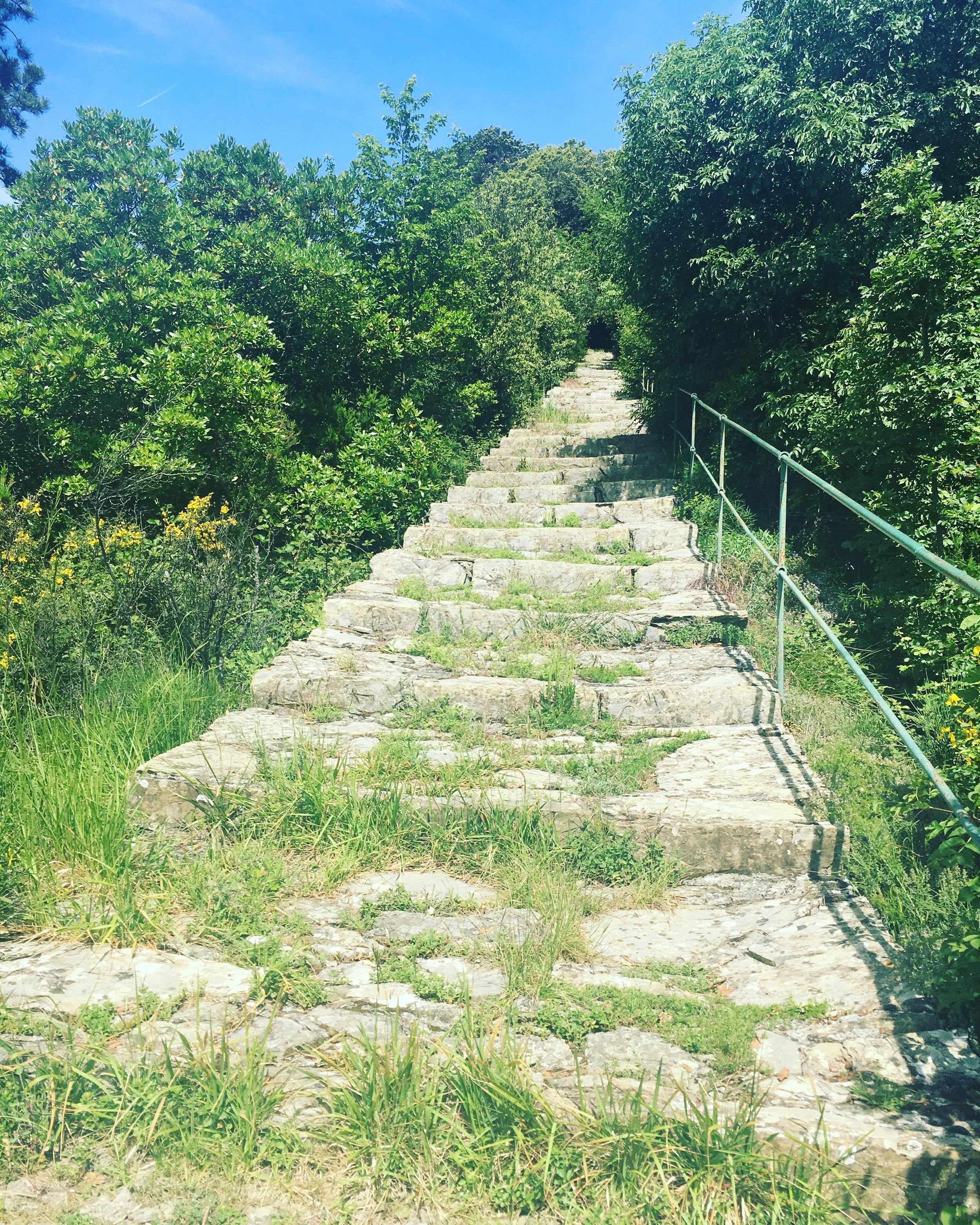 The final staircase leading to the summit of Santuario della Madonna di Caravaggio