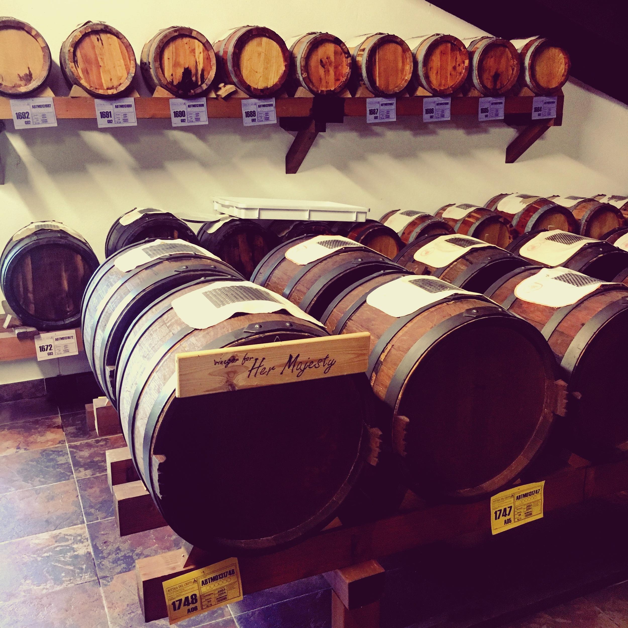 Barrels of vinegar reserved for Her Majesty
