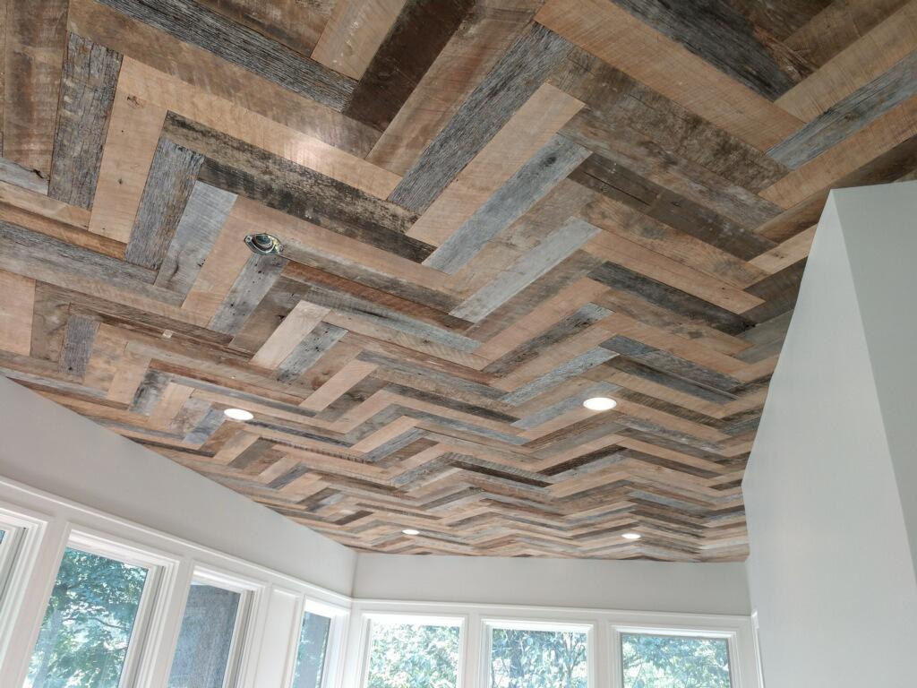 Shriver Ceiling grey brown barn board.JPG