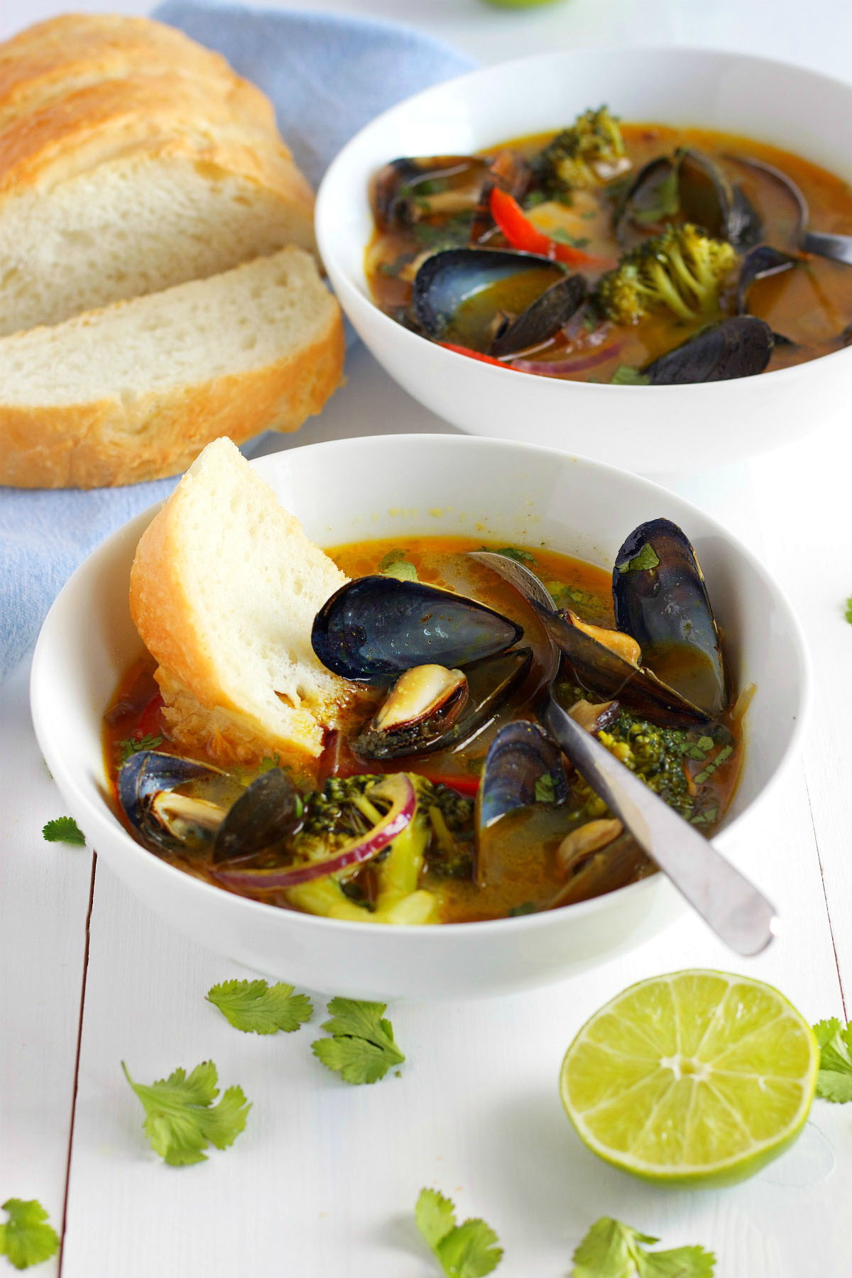 Thai Coconut Curry Soup with Blue Mussels