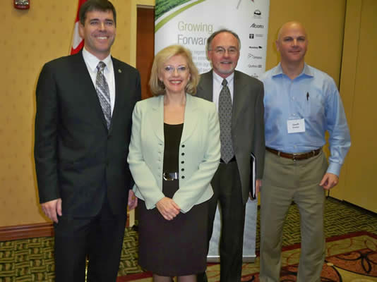 From Left to Right  –Parliamentary Secretary Pierre Lemieux, Canadian Aquaculture Industry Alliance Executive Director Ruth Salmon, Fisheries Council of Canada President Patrick McGuinness, and Lobster Council of Canada Executive Director Geoff Irvine.