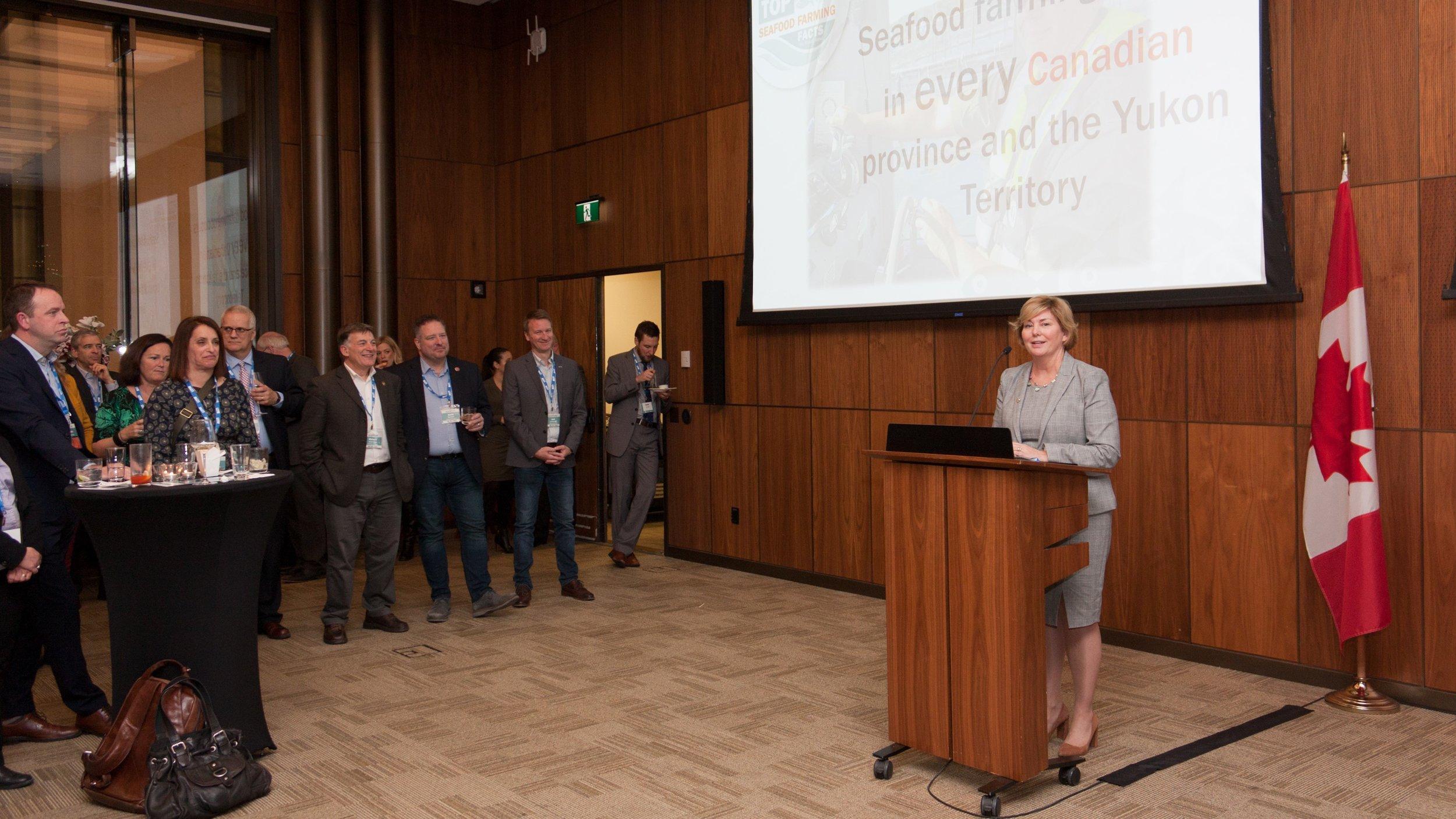 Reception Co-Host, Karen Ludwig, MP, New Brunswick Southwest addresses attendees