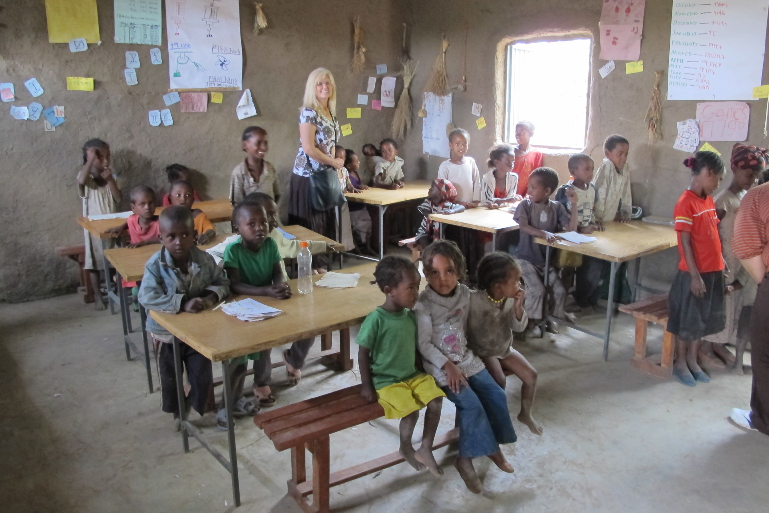 Karen Nalos in a school in Halaba, Ethiopia.