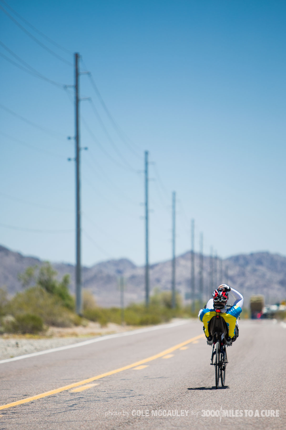 Despite falling on hot roads in Arizona and filling his jersey with ice to get through the heat, Rob kept riding.
