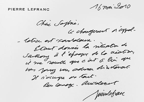 Courrier Pierre Lefranc