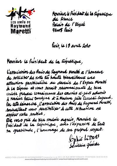 Courrier adressé au Président de la République