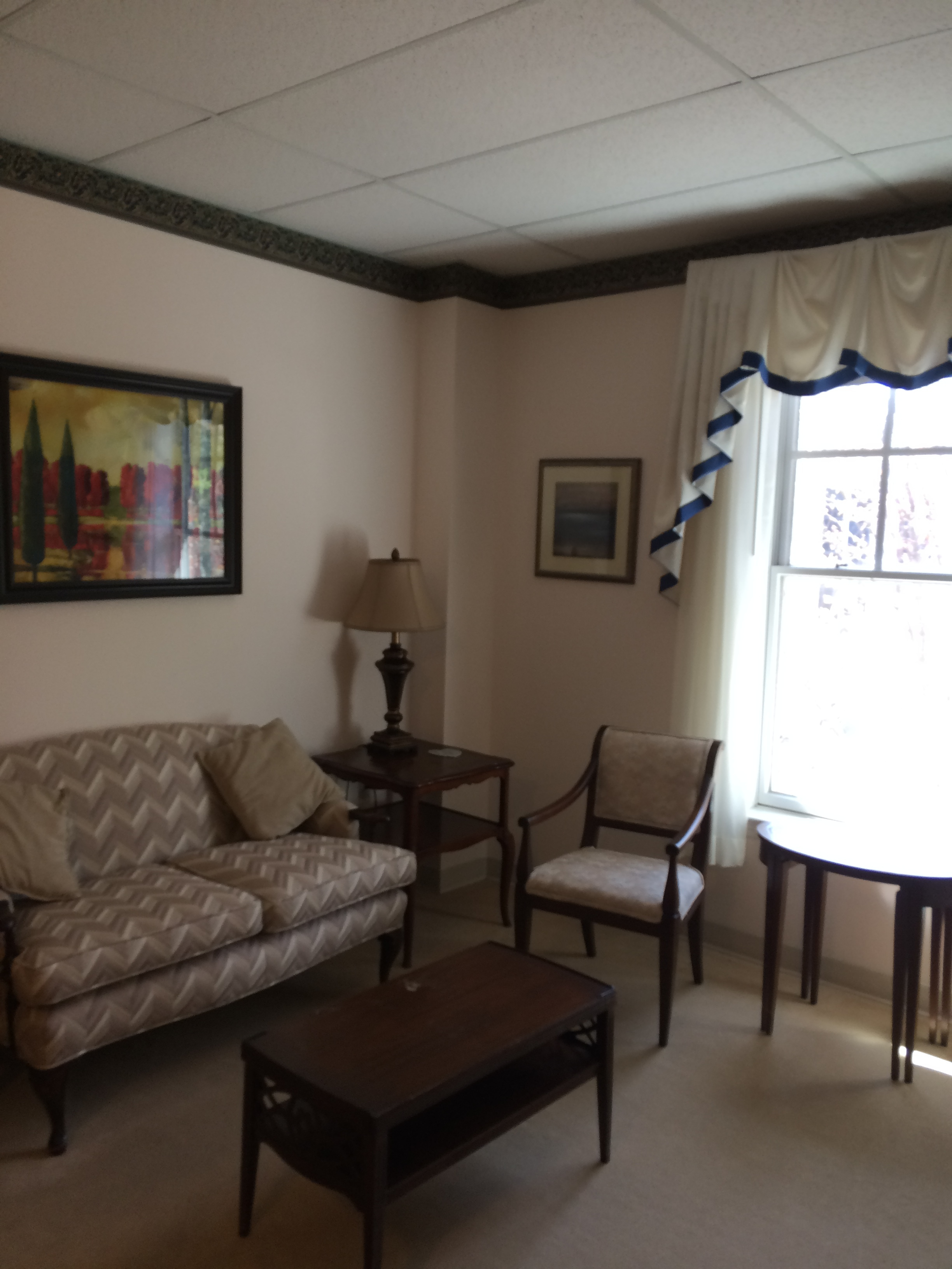 A living room in an assisted-living apartment at Forest Hills of DC