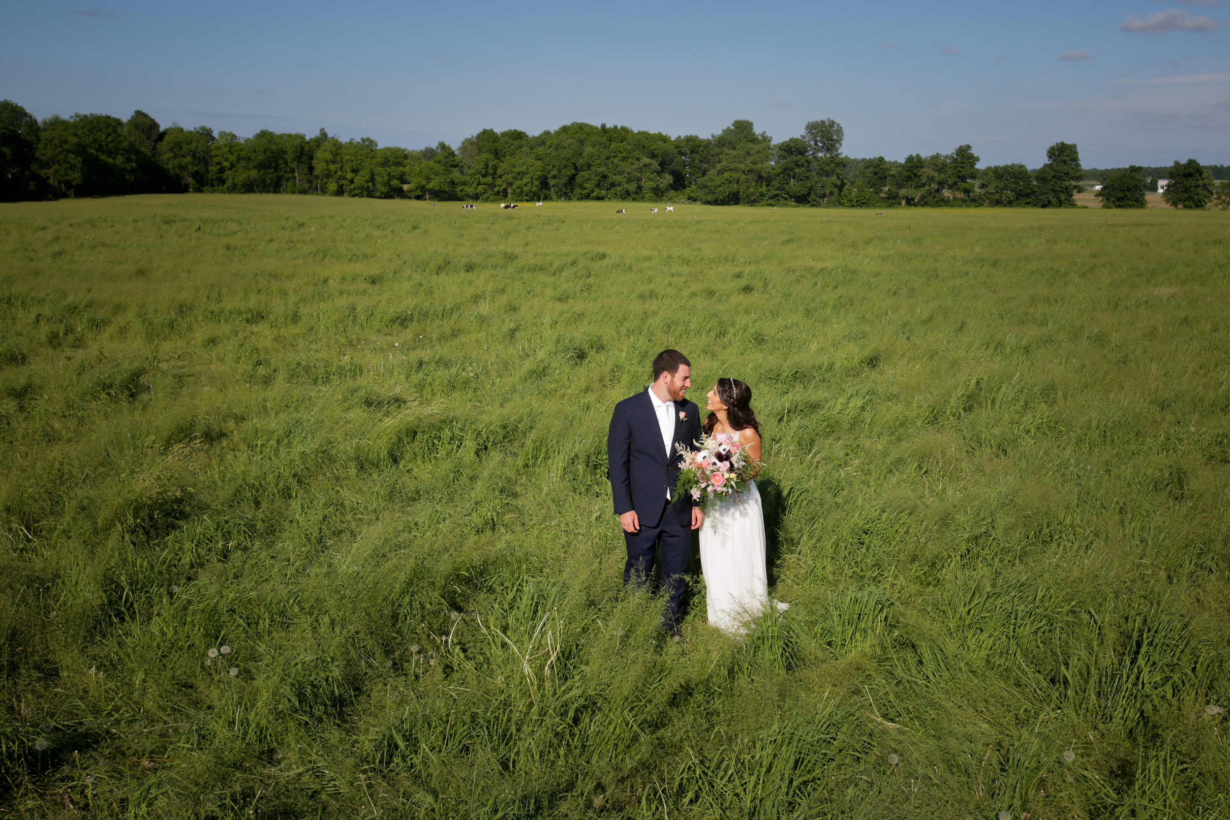 bride and groom in field 3