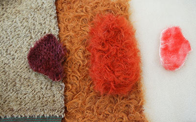 Mohair samples before and after dyeing